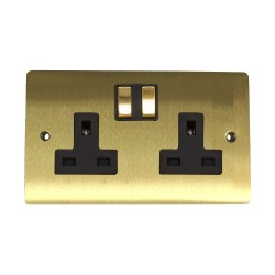 2 Gang 13A Switched Twin Socket in Satin Brass Plate and Switch with Black Plastic Trim, Elite Flat Plate