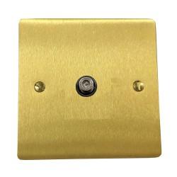 1 Gang Satellite Socket in Satin Brass Flat Plate with Black Plastic Trim, Elite Flat Plate