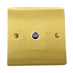 1 Gang Satellite Socket in Satin Brass Flat Plate with White Plastic Trim, Elite Flat Plate