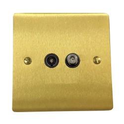 2 Gang Satellite/TV Socket in Satin Brass Plate with Black Plastic Trim, Elite Flat Plate