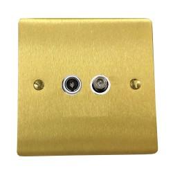 2 Gang Satellite/TV Socket in Satin Brass Plate with White Plastic Trim, Elite Flat Plate
