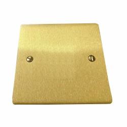 1 Gang Single Section Blank Plate in Satin Brass Flat Plate, Elite Flat Plate