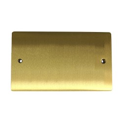 2 Gang Double Section Blank Plate in Satin Brass Flat Plate, Elite Flat Plate