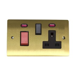 45A Cooker Unit with 13A Switched Socket and Neon Indicators in Satin Brass with Black Trim, Elite Flat Plate