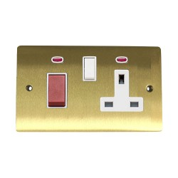 45A Cooker Unit with 13A Switched Socket and Neon Indicators in Satin Brass with White Trim, Elite Flat Plate