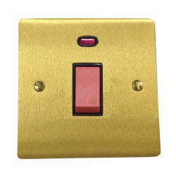 45A Red Rocker Cooker Switch (Single Plate) with Neon in Satin Brass Flat Plate with Black Trim, Elite Flat Plate
