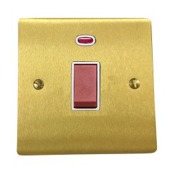 45A Red Rocker Cooker Switch (Single Plate) with Neon in Satin Brass Flat Plate with White Trim, Elite Flat Plate