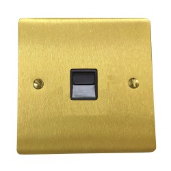 1 Gang Secondary Telephone Socket in Satin Brass Flat Plate with Black Trim, Elite Flat Plate
