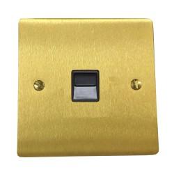 1 Gang Master Line Telephone Socket in Satin Brass Plate with Black Plastic Trim, Elite Flat Plate