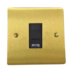 1 Gang RJ45 Data Socket Outlet in Satin Brass Flat Plate with Black Trim, Elite Flat Plate