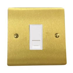 1 Gang RJ45 Data Socket Outlet in Satin Brass Flat Plate with White Trim, Elite Flat Plate