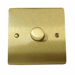 1 Gang 2 Way 400W Push On/Off Single Dimmer in Satin Brass Plate and Knob, Elite Flat Plate