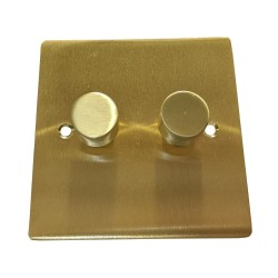 2 Gang 2 Way Trailing Edge LED Dimmer 10-120W Satin Brass Plate and Knob, Elite Flat Plate