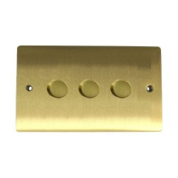 3 Gang 2 Way 400W Push On/Off Dimmer in Satin Brass Plate and Knob, Elite Flat Plate