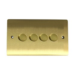 4 Gang 2 Way 400W Push On/Off Dimmer in Satin Brass Plate and Knob, Elite Flat Plate