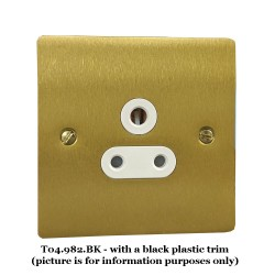 1 Gang 5A 3 Pin Unswitched Socket in Satin Brass Flat Plate with Black Plastic Trim, Elite Flat Plate