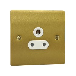1 Gang 5A 3 Pin Unswitched Socket in Satin Brass Flat Plate with White Trim, Elite Flat Plate