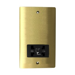 Shaver Socket Dual Voltage Output 110/240V in Satin Brass Plate with Black Trim, Elite Flat Plate