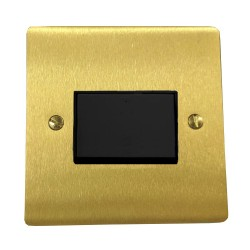 6A Triple Pole Fan Isolator Switch in Satin Brass Plate with Black Plastic Trim and Switch, Elite Flat Plate