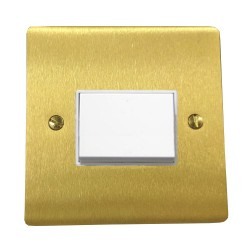 6A Triple Pole Fan Isolator Switch in Satin Brass Plate with White Plastic Trim and Switch, Elite Flat Plate