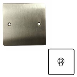 1 Gang 2 Way 20A Single Dolly Switch in Satin Nickel Flat Plate and Toggle, Elite Flat Plate