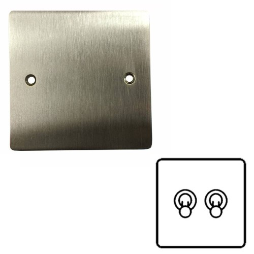 2 Gang 2 Way 20A Twin Dolly Switch in Satin Nickel Flat Plate and Toggle, Elite Flat Plate