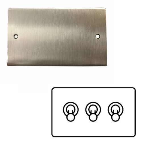 3 Gang 2 Way 20A Triple Dolly Switch in Satin Nickel Flat Plate and Toggle Switch, Elite Flat Plate