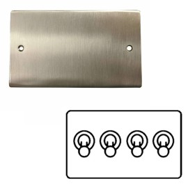 4 Gang 2 Way 20A Dolly Switch in Satin Nickel Flat Plate and Toggle Switch, Elite Flat Plate