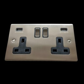 2 Gang 13A Socket with 2 USB Sockets Satin Nickel Elite Flat Plate and Rocker with Black Plastic Trim