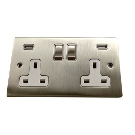 2 Gang 13A Socket with 2 USB Sockets Satin Nickel Elite Flat Plate and Rocker with White Plastic Trim