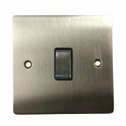 1 Gang 2 Way 10A Rocker Switch in Satin Nickel Flat Plate with Black Plastic Trim, Elite Flat Plate