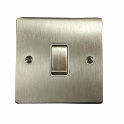 1 Gang 20A Double Pole Rocker Switch in Satin Nickel Plate and Switch with White Trim, Elite Flat Plate