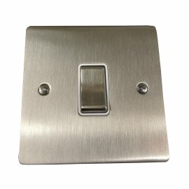 1 Gang 2 Way 10A Rocker Switch in Satin Nickel Flat Plate with White Plastic Trim, Elite Flat Plate