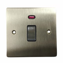 1 Gang 20A Double Pole Switch with Neon in Satin Nickel Plate and Switch with Black Trim, Elite Flat Plate