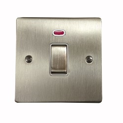 1 Gang 20A Double Pole Switch with Neon in Satin Nickel Plate and Switch with White Trim, Elite Flat Plate