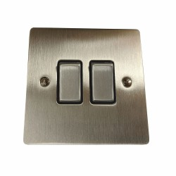 2 Gang 2 Way 10A Rocker Switch in Satin Nickel Plate and Switch with Black Plastic Trim, Elite Flat Plate