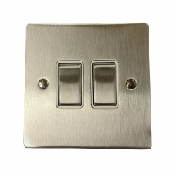 2 Gang 2 Way 10A Rocker Switch in Satin Nickel Plate and Switch with White Plastic Trim, Elite Flat Plate