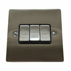 3 Gang 2 Way 6A Rocker Switch in Satin Nickel Plate and Switch with Black Trim, Elite Flat Plate