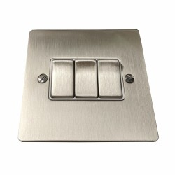 3 Gang 2 Way 10A Rocker Switch in Satin Nickel Plate and Switch with White Plastic Trim, Elite Flat Plate