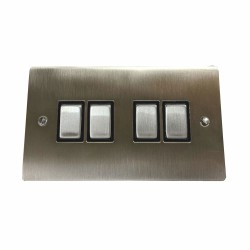 4 Gang 2 Way 10A Rocker Switch in Satin Nickel Plate and Switch with Black Plastic Trim, Elite Flat Plate