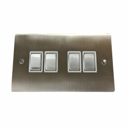 4 Gang 2 Way 10A Rocker Switch in Satin Nickel Plate and Switch with White Plastic Trim, Elite Flat Plate