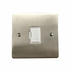 1 Gang 13A Unswitched Fused Spur in Satin Nickel Plate with White Plastic Trim, Elite Flat Plate