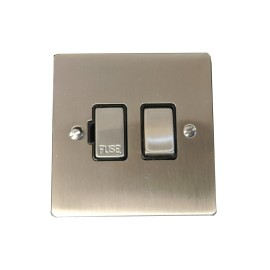 1 Gang 13A Switched Fused Spur in Satin Nickel Plate and Switch with Black Plastic Trim, Elite Flat Plate