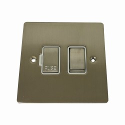 1 Gang 13A Switched Fused Spur in Satin Nickel Plate and Switch with White Plastic Trim, Elite Flat Plate