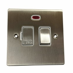 1 Gang 13A Switched Fused Spur with Neon in Satin Nickel Plate and Switch with White Plastic Trim, Elite Flat Plate