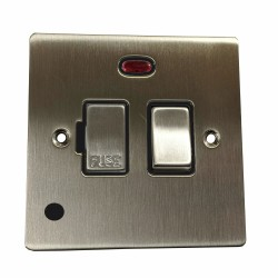 13A Switched Fused Spur with Neon and Cord in Satin Nickel Plate and Switch with Black Plastic Insert, Elite Flat Plate