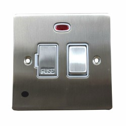 13A Switched Fused Spur with Neon and Cord in Satin Nickel Plate and Switch with White Plastic Insert, Elite Flat Plate