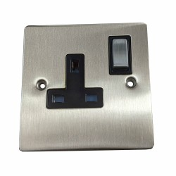 1 Gang 13A Switched Single Socket in Satin Nickel Plate and Switch with Black Plastic Trim, Elite Flat Plate