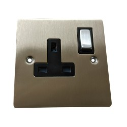 1 Gang 13A Switched Single Socket in Satin Nickel Plate and Switch with White Plastic Trim, Elite Flat Plate