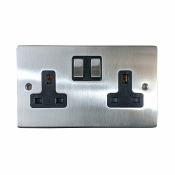 13A Switched Twin Socket in Satin Nickel Plate and Switch with Black Trim, Elite Flat Plate